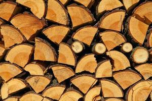 staplat hackat trä för vintern eller konstruktion som bakgrund foto