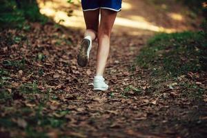 närbild löpare sko på park trail foto