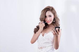 kvinna med läppstift foto