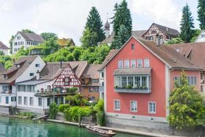 schweizisk by vid floden Rhinen foto