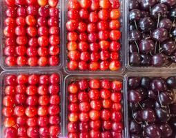 körsbärslådor på marknaden foto