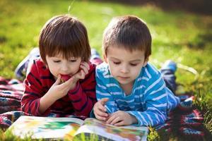 två bedårande söta kaukasiska pojkar som ligger i parken foto