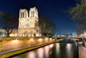 Notre Dame domkyrka i skymningen i Paris, Frankrike