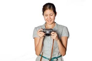 asiatisk kvinnafotograf foto