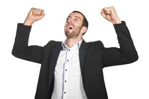 affärsman njuter av framgång foto
