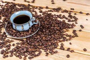 kaffekopp på träbordet
