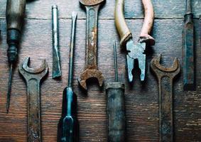 uppsättning av gamla verktyg foto