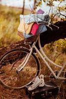 vintage cykel med blomma och handdukar