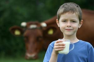 dricker mjölk foto