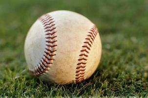 baseboll på gräs foto