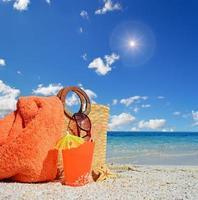 väska, dryck och sol foto