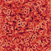 abstrakt röd-orange fallna siffror. 3d framför bakgrund. foto