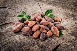 kakaobönor på träbakgrund foto