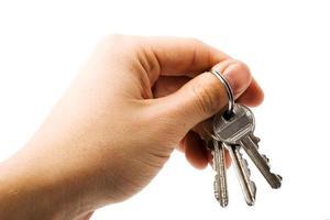 nycklar i handen