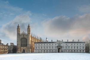 king's college kapell på vintern, Cambridge University, England foto