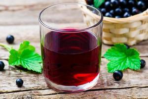 kall dryck från svarta vinbär foto