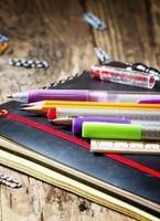skolmaterial och kontorsmaterial: pennor, pennor, anteckningsböcker, foto