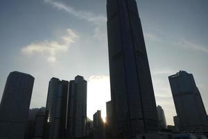 hong kong silhuettbyggnad. foto