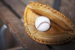 basebollfångare handskar på bänkstilleben foto