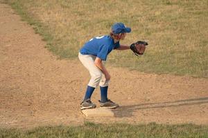 tredje baseman i baseball foto
