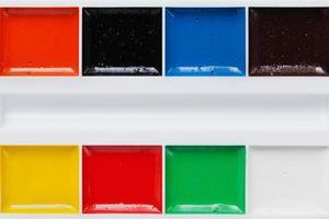 palett med akvarellfärger, akvarell, kopieringsutrymme för text foto