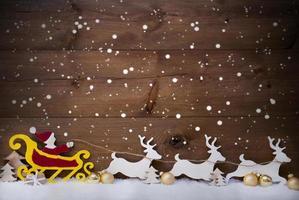 jultomten släde, ren, snöflingor, kopia utrymme, gyllene boll