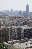 utsikt över sluttningen av Barcelona, Spanien. kopiera utrymme högst upp. foto