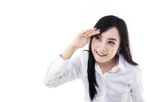 affärskvinna tittar på copyspace foto