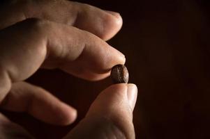 mänsklig hand som håller kaffebönor. foto