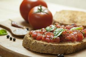 italiensk bruschetta på nära håll foto