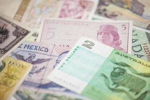 närbilda utländsk valuta foto