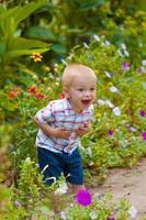 liten pojke i en frodig trädgård foto