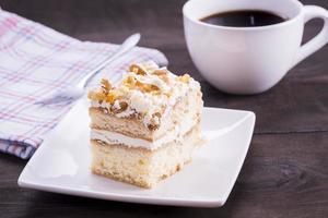 homemande cake och kaffe foto