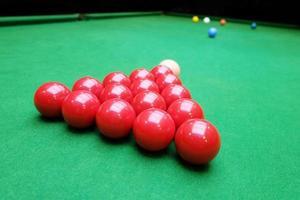 snooker bollar på nära håll
