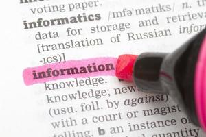 information ordbok definition foto