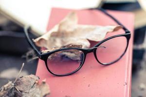 gamla vintage glasögon liggande på den gamla boken i parken foto
