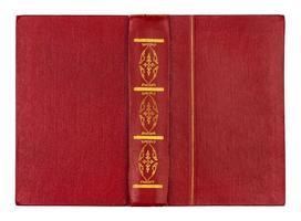 tom öppen röd bokomslag isolerad på vitt foto