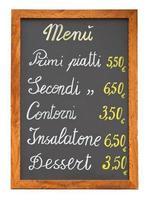 italiensk restaurangmeny svarta tavlan