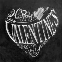 alla hjärtans dagbokstäver på svarta tavlan