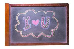 """krita hand ritning alfabetet, """"jag älskar dig"""" på svarta tavlan bakgrunds foto"""