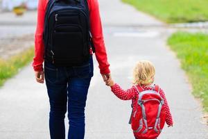 mamma som rymmer handen av lilla dotter med ryggsäck utomhus