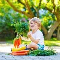 rolig liten barnpojke med morötter i inhemsk trädgård foto