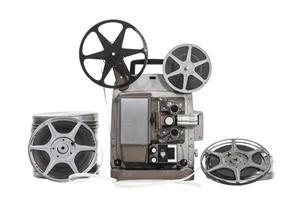 vintage filmer med isolerad projektor foto