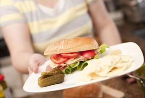 smörgås, deli-disk, ost, kött foto
