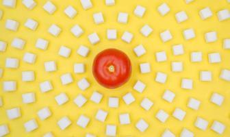 tomat omgiven av sockerbitar foto