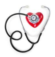 stetoskop på rött hjärta foto