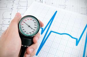 sphygmomanometer på medicinsk bakgrund foto