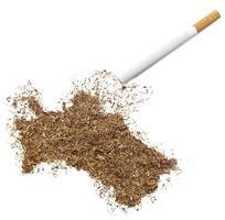 cigarett och tobak formad som turkmenistan (serie) foto