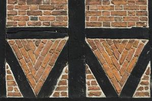 medeltida tegel och korsvirkeshus i ribben, danmark. foto