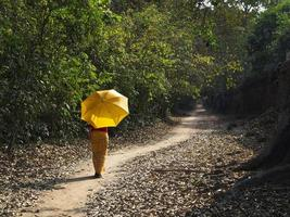 tjej som går längs en trädbevuxen väg